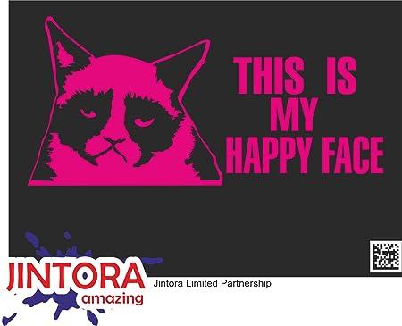 Jintora Aufkleber Für Auto Autoaufkleber Jdm Die Cut Grumpy Cat 207x99 Mm Jdm Die Cut Bus Fenster Heckscheibe Laptop Lkw Tuning Pink Auto