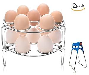 GUOXUAN Ben014 2-Pack Stainless Steel Kitchen Trivet Stackable Vegetable Steam Egg Steamer Rack
