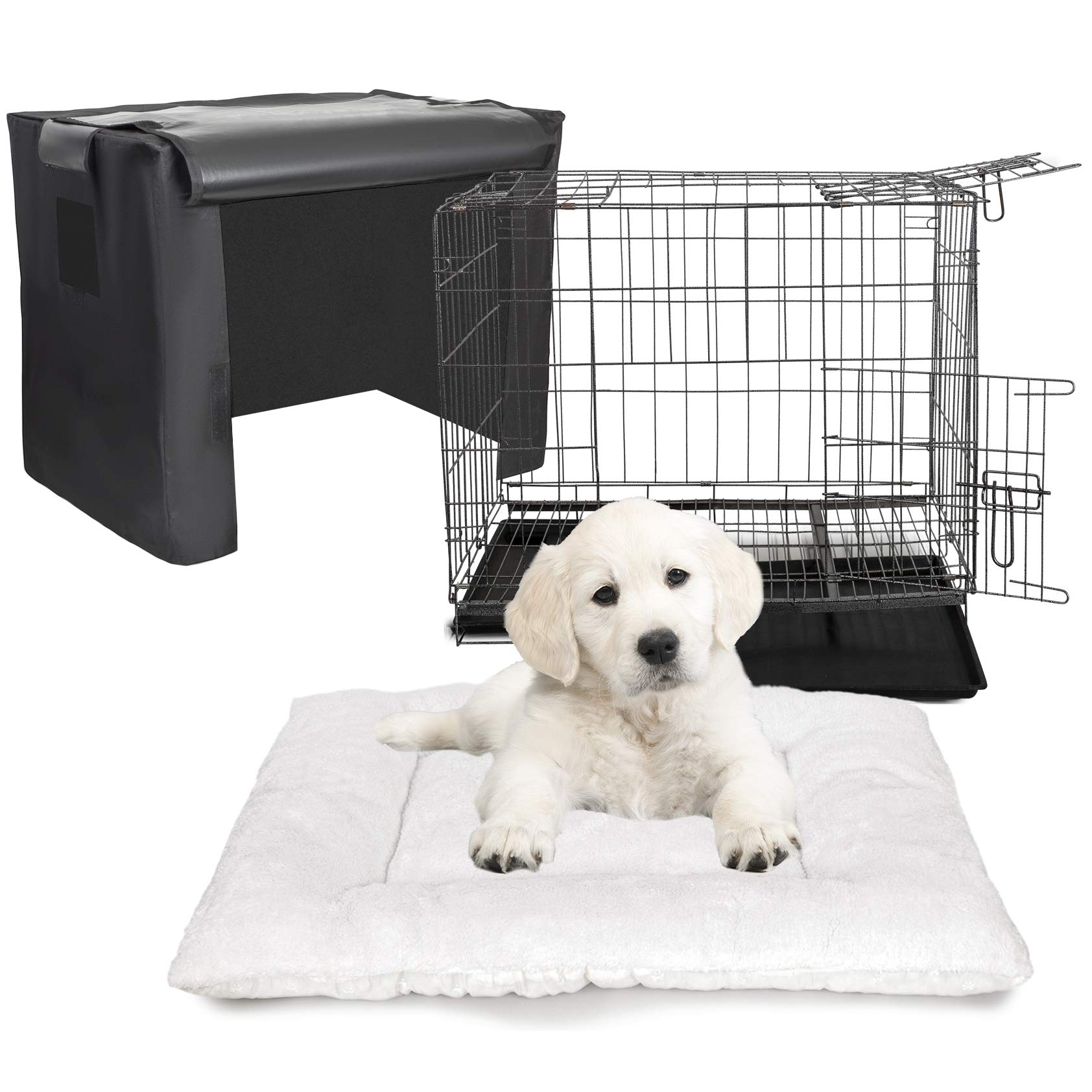 Deco Pet Parent Kennel Set with Single Door Folding Metal Dog Cat Training Crate Including Indoor/Outdoor Cover & Quilted Fleece Cozy Bed Pad by Deco Gear