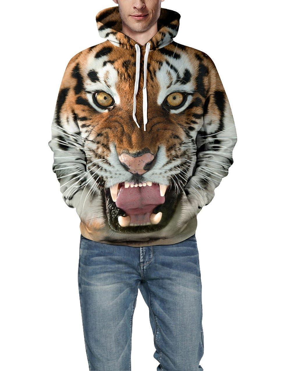 XINFUKL Kapuzenpullover Mit Unisex-3D-Print Im Tiger-Look Mit Großem Atmungsaktivem Baseballuniform Und Großem Mit Taschenpullover 02f6c4