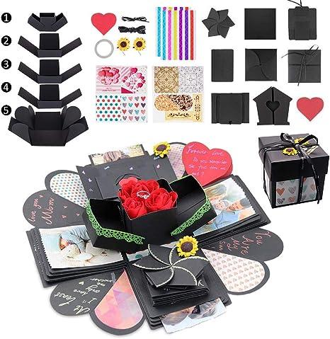 Explosion Gift Box Set Creative Scrapbook DIY Photo Album 4 Face Surprise Album Sticker Box for Birthday Anniversary Valentine Wedding Gift
