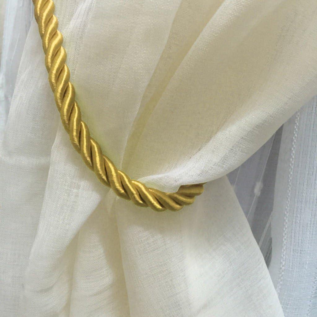 LOVIVER Paquete De 4 Amarres De Cuerda para Cortina De Ventana Cord/ón Tejido A Mano Decorativo Conveniente Drapeado con Corbata Dorada