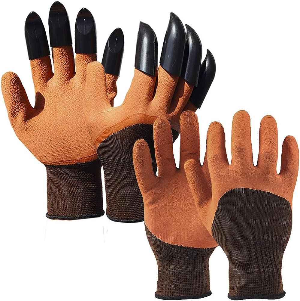 Averfeel Garden Genie Gloves with Claws, 2 Pairs Waterproof Garden Gloves For Digging Planting Gardening Weeding Seeding Breathable Sturdy Garden Gloves with Claws Gardener