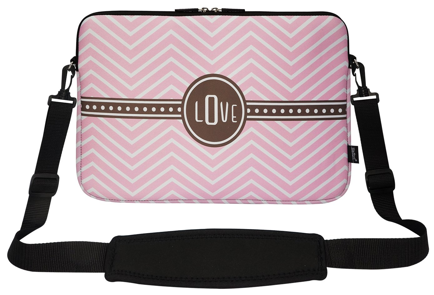 Meffort Inc 15 15.6 Inch Neoprene Matching Pattern Laptop Carrying Sleeve Bag with Hidden Handle and Shoulder Strap - ''Love'' Gift Warp