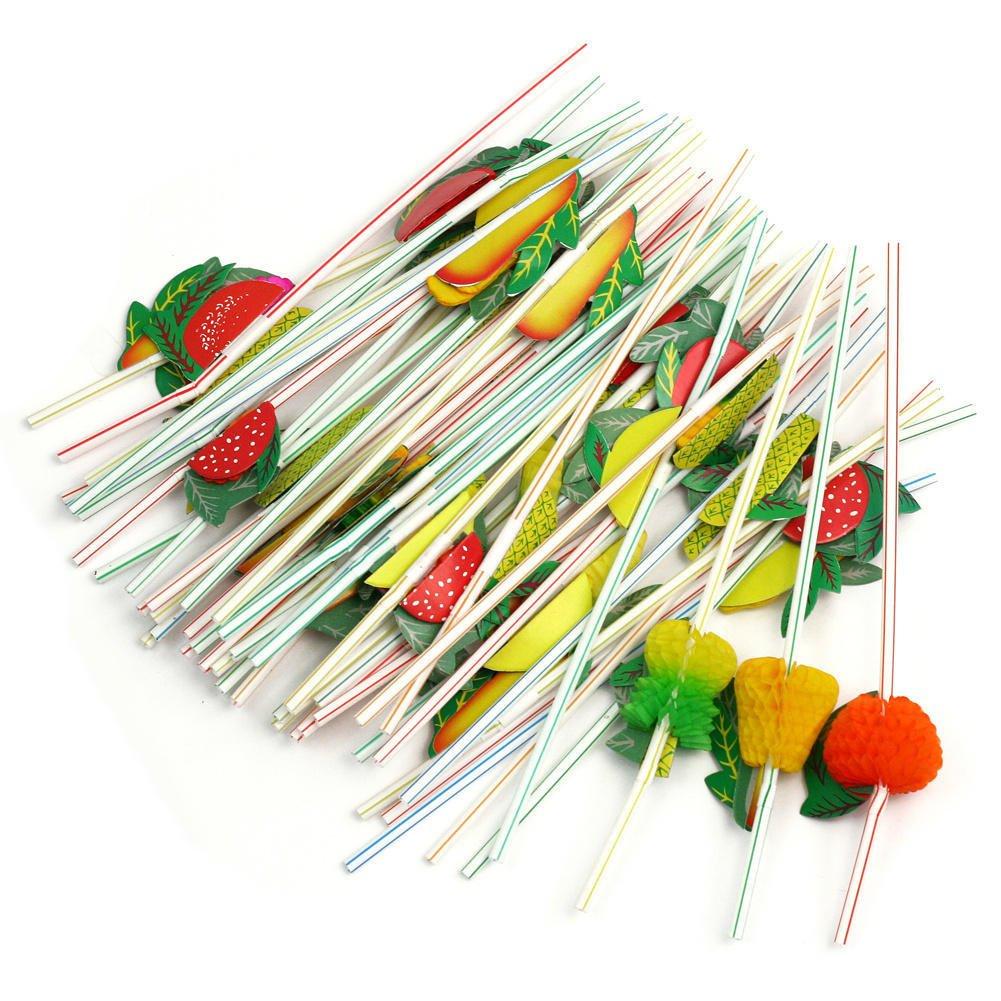Wicemoon 100pièces Plastique jetable Paille Fruits Paille Peut être plié à Modeler coloré Craft Paille pour fête et Cas