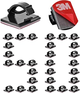 50PCS 3M Self Adhesive Cable Clips Management Strong Wire Holders Cord Organizer Cable Clamp Sticky Desk Management for Office Home Car Tables PC Laptop TV Walls, Black