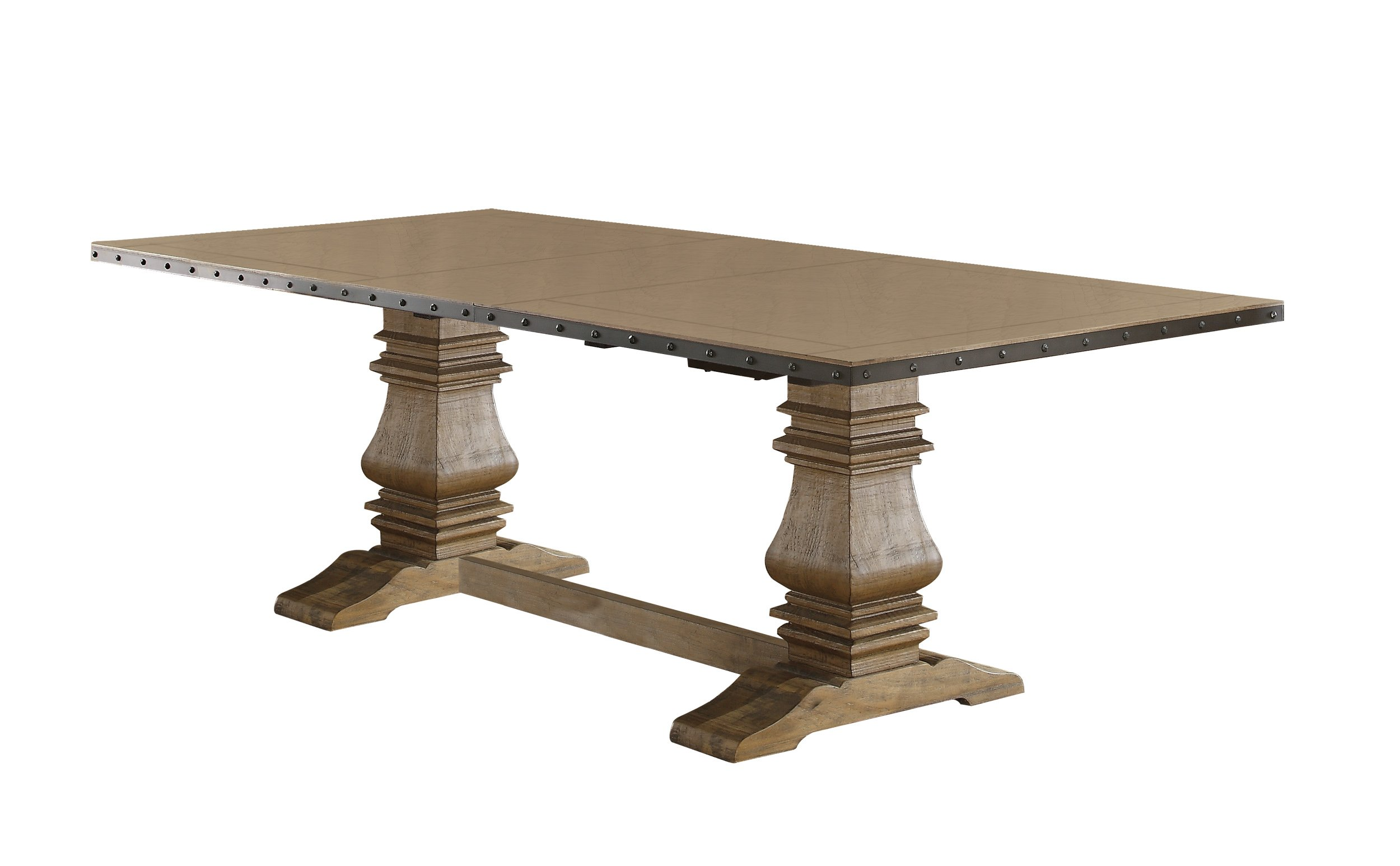 Homelegance Veltry Rectangular Double Pedestal Dining Table with Metal Nail head Accent Banding, Rustic Oak