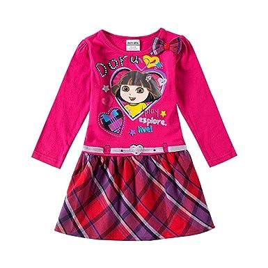 Baby Girls Dora The Explorer Dress Long Sleeve Autumn Winter