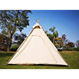 Latourreg Outdoor or Indoor Large Adult Indian Teepee Tent of Canvas 6.5FT Camping Pyramid Tipi Tent with Double Mesh…