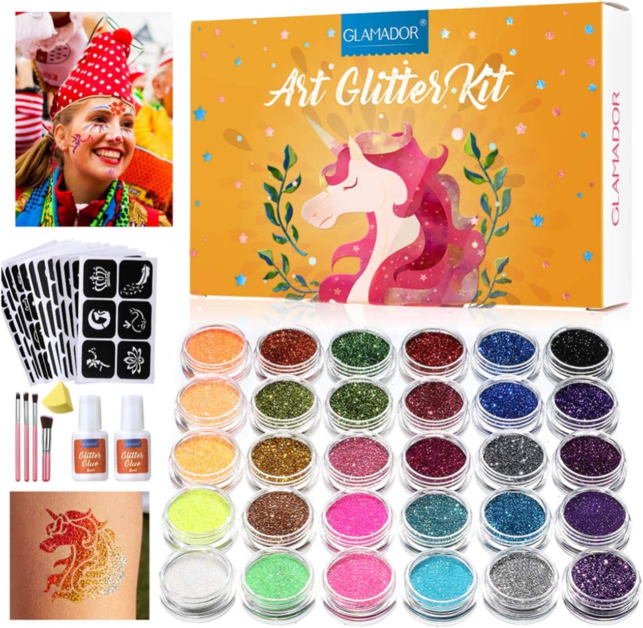Kit de Tatuajes Temporales-GLAMADOR Brillo de Tatuaje 30 Colores, 145 Únicas Plantillas,4 Pinceles-Carnaval,Fiestas Cumpleaños,Eventos- Impermeable,No Tóxico,Regalo para Niños