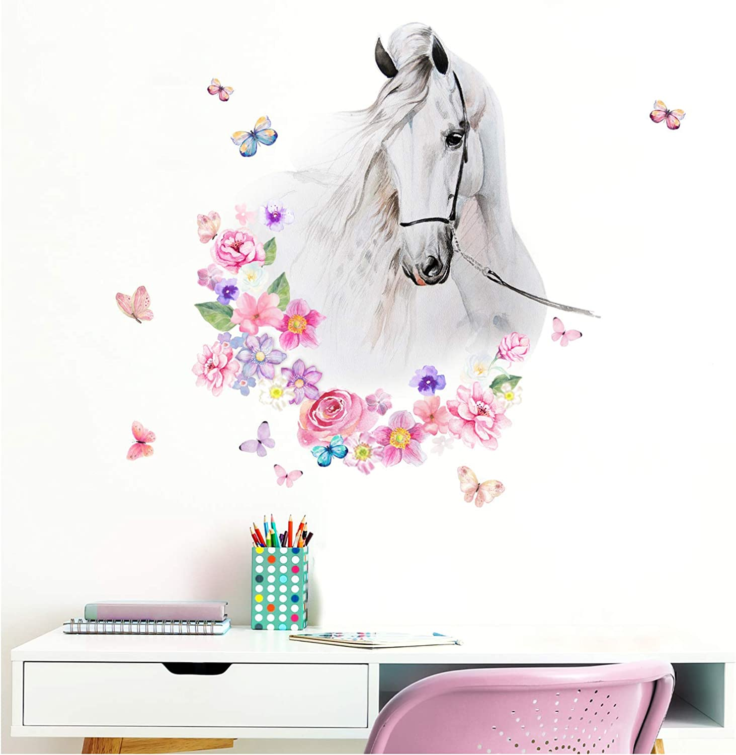 Little Deco DL464 - Adhesivo decorativo para pared, diseño de cabeza de caballo con flores y mariposas