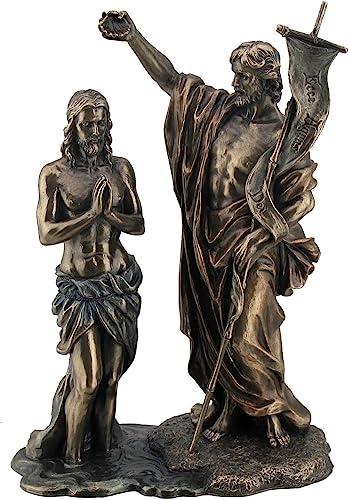 10.63 Jesus Baptized by St. John The Baptist Figurine, Bronze Color