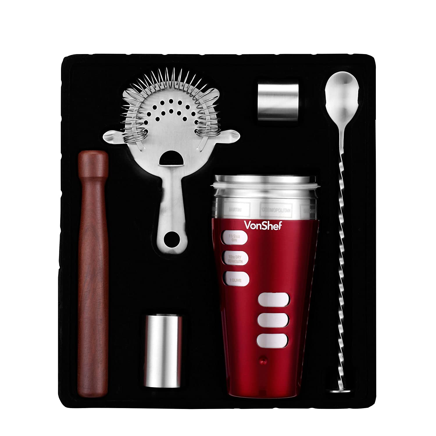 amazoncom vonshef engraved recipe cocktail shaker set in red  - amazoncom vonshef engraved recipe cocktail shaker set in red  includesfree strainer spoon wood muddler  x measuring cups  engraved cocktail