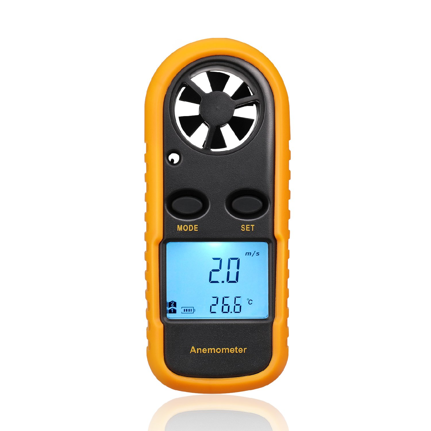 Flexzion Anemometer Wind Meter Gauge Digital Hand-Held Air Flow Velocity Speed Measuring Device w/MAX/MIN Wind Chill Temperature Thermometer LCD Backlight for Shooting Kite Flying Sailing Fishing