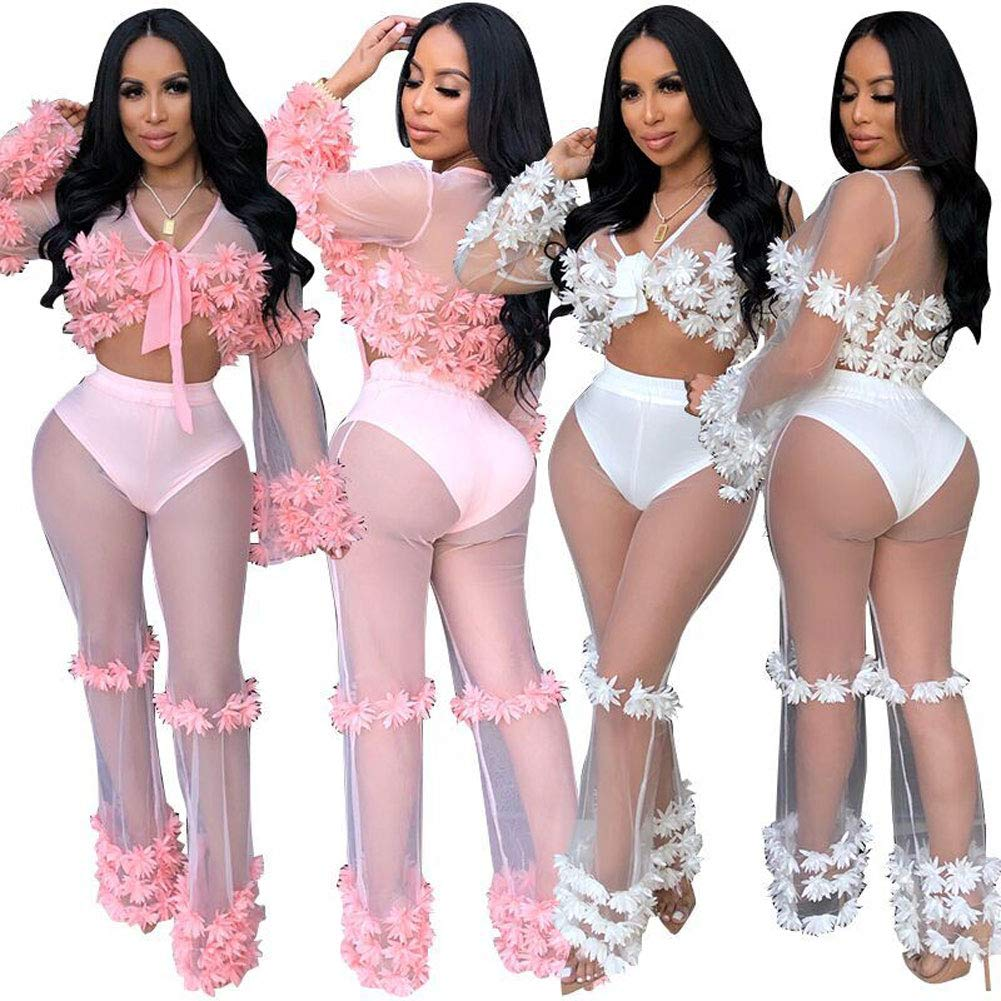 See Through Cover Ups for Swimwear - Sexy 2pcs Bikini Swimsuit Cover-Ups Beach Outfits with Flower White