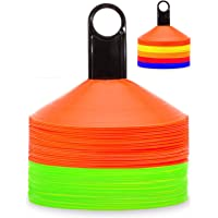 REBOILPHASE Disc Cones Sets 50 Agility Soccer Cones with Carry Bag and Holder for Training Soccer, Football, Basketball…