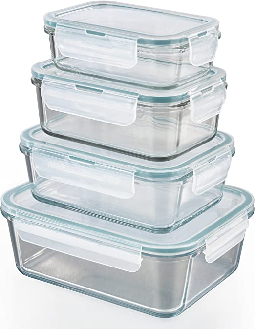 GOURMETmaxx Klick-it | Envases para cocina de cristal, Set de 4 ...