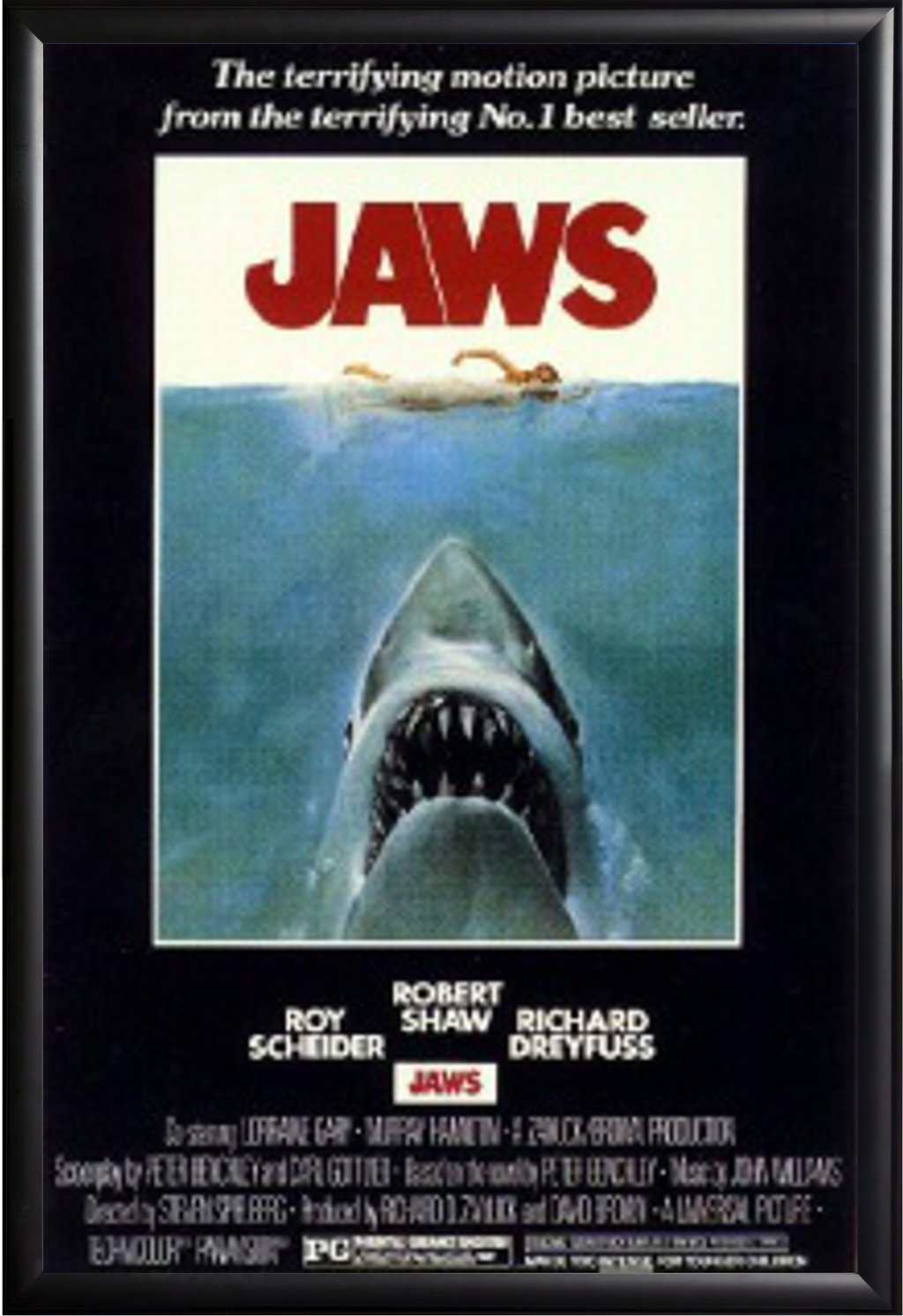 Framed Shark and Swimmer - Jaws 1975 Movie 24x36 Poster in Matte Black Finish Wood Frame