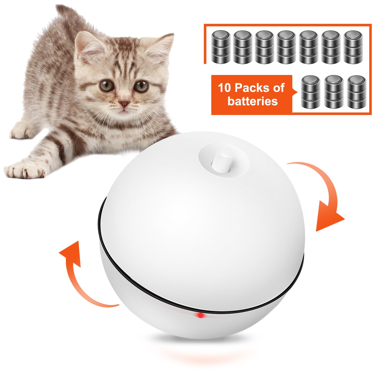 BANZI Cat Toy Ball Self Rolling Automatic Light Toy for Cat Dog and small Pet (30 Batteries Included)