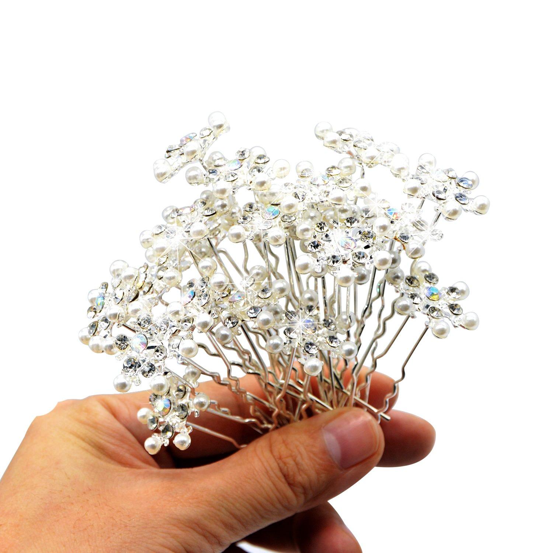 Luismia Snowflake Hairpin - U Shape Rhinestone Pearl Hair Pin - Snow Queen Elsa Frozen Jewelry Fork Clip(20 pcs)