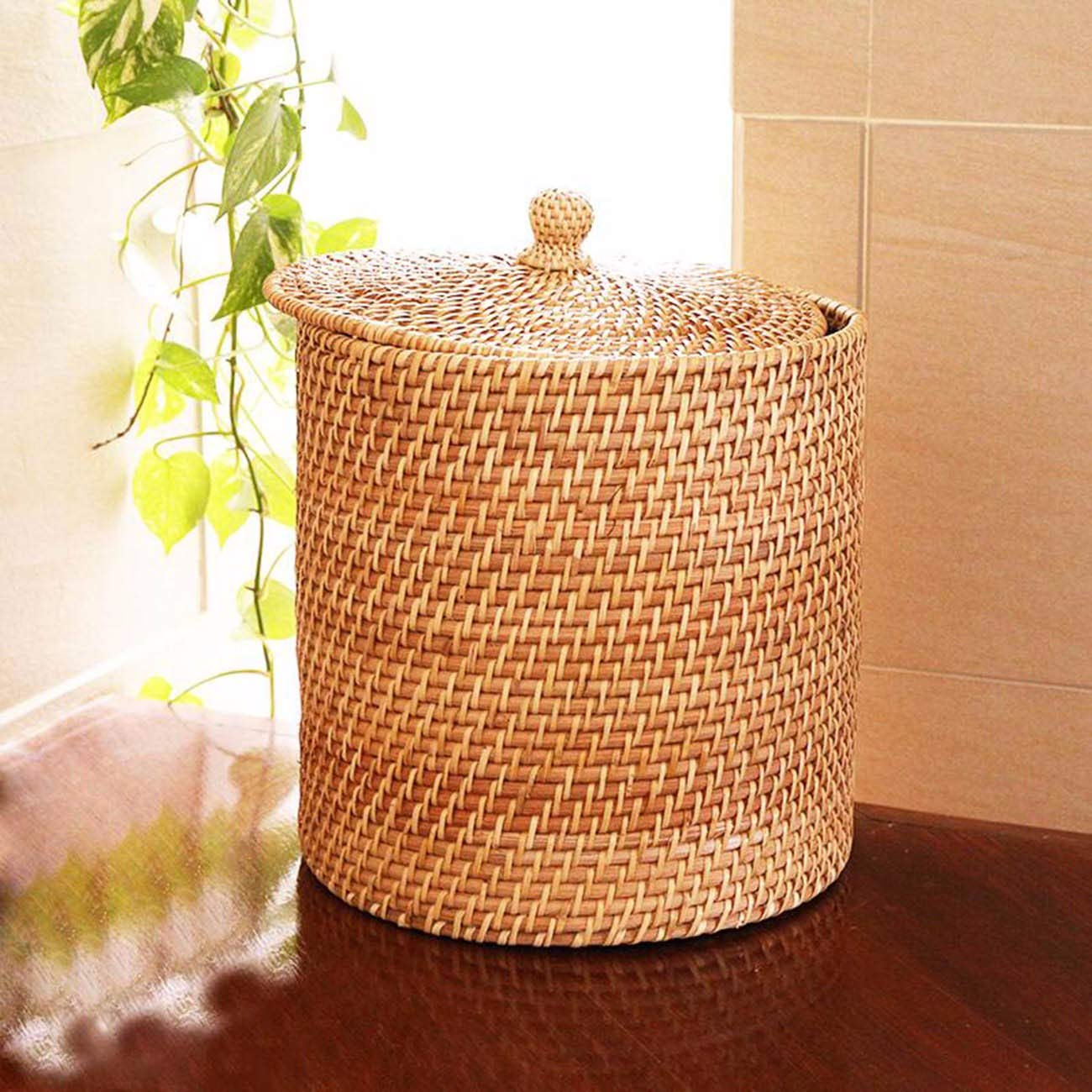 JFBZS-trash can Cane-Knitted Handmade Receiving Tank Refuse bin Home Receiving Tank with Cover Receiving Tank for Snacks and Groceries Receiving Tank Refuse bin A