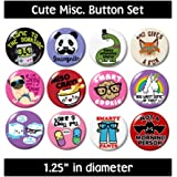 CUTE MISC. BUTTONS pins badges dork smarty pants new