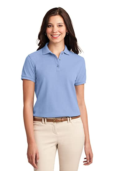 Port Authority Ladies Silk Touch Polo. L500 Light Blue at Amazon ... 4ca0194470a