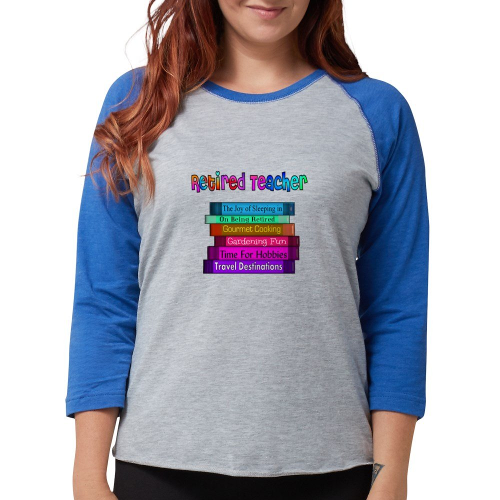 eeb4a6fa Amazon.com: CafePress - Retired Teacher Book Stack 201 Long Sleeve T-Shirt  - Womens Baseball Tee: Clothing