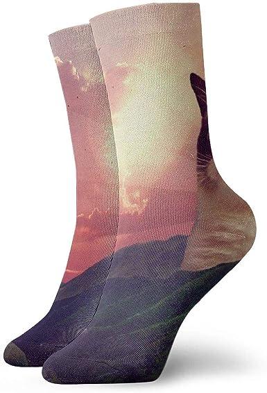 Calcetines deportivos unisex con diseño de gato gruñón con