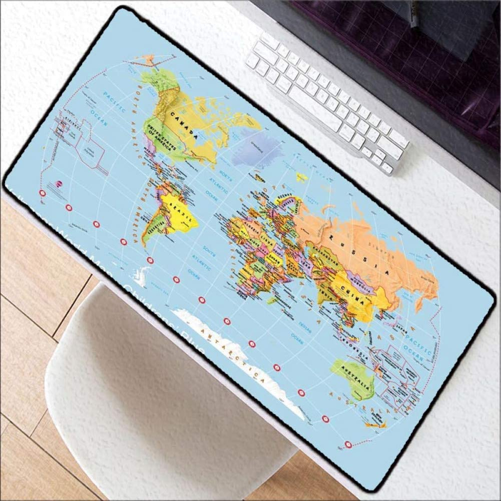 WHFDSBD Extra Large Mouse Pad Blue World Map Gaming Mousepad Anti-Slip Rubber Gaming Mouse Mat with Locking Edge