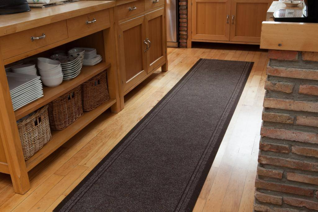 """Dark Brown Custom Size No Skid Entrance Runner Rugs - Sold and Priced By The Foot - 2' 2"""" Wide - HOW TO BUY: This runner is sold and priced per foot, please select the length you require from the drop down box. SIZE: 2ft 2"""" (66cm) Wide - You choose the length you require. DEPTH: 5mm DESIGN CODE: Concorde Brown - runner-rugs, entryway-furniture-decor, entryway-laundry-room - 71GiLfj0sqL -"""