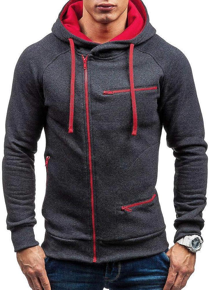 Colmkley Men/'s Pullover Hoodie Full Zip Long Sleeve Hooded Shirt Slim Sweatshirt