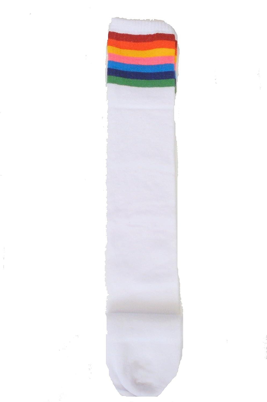 Sports Athletic Cheerleader Tube Striped Knee High Over Knee Thigh Socks 4-7 UK