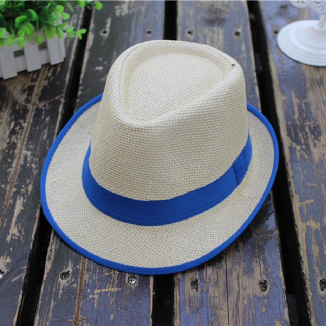 8a277e4e480d45 Amazon.com: ShenPourtor Women/Men's Summer Cool Short Brim Straw Fedora Sun  Hat WIth Stylish Hat Band (#Blue): Toys & Games