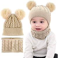 CheChury Niños Sombrero y Bufanda Conjunto Unisex Niños Niñas Invierno Bebe Gorros con Pompon Y Bufanda de Punto Cuello…