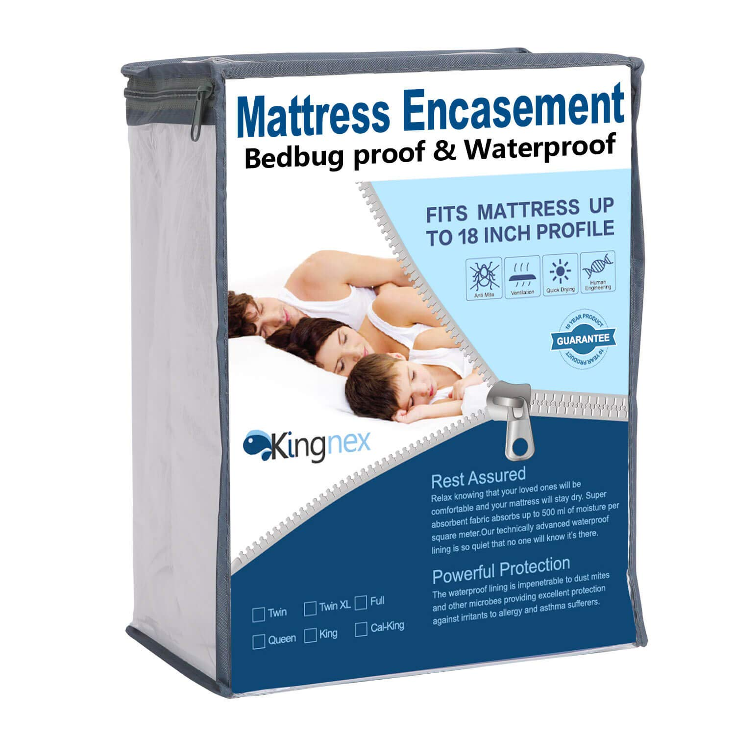 Kingnex Zippered Mattress Protector - Waterproof Mattress Encasement - Proof Hypoallergenic Breathable 6 Side Fully Encased Cover King Size