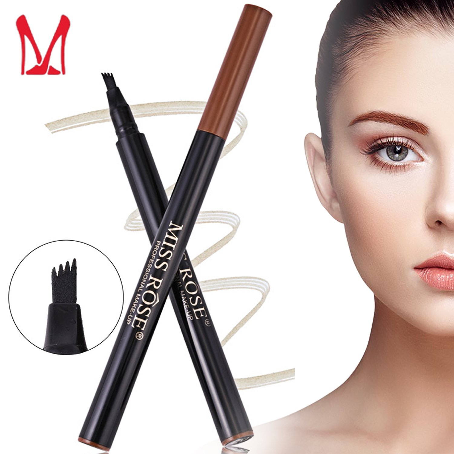 Ladygo 3D Eyebrow Tattoo Pen, Microblading Eyebrow Marker Pencil 4 Fork Tips Liquid Blonde Eye Makeup, Long-lasting Waterproof Smudge Proof Natural Look (03# - Chestnut) YiWu MeiDai Cosmetics Co. Ltd