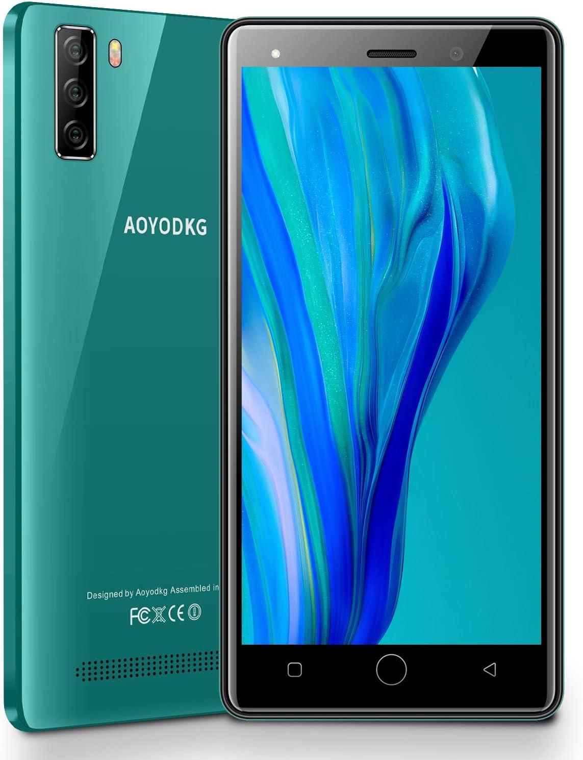 Moviles Libres 4G Android 9.0 Pie, A10+(2020) 1GB RAM+16GB ROM/128GB 5.0'' HD Smartphone Libre Quad-Core Dual SIM Dual Cámara 8MP+5MP 2800mAh GPS Bluetooth Moviles Buenos (Verde)