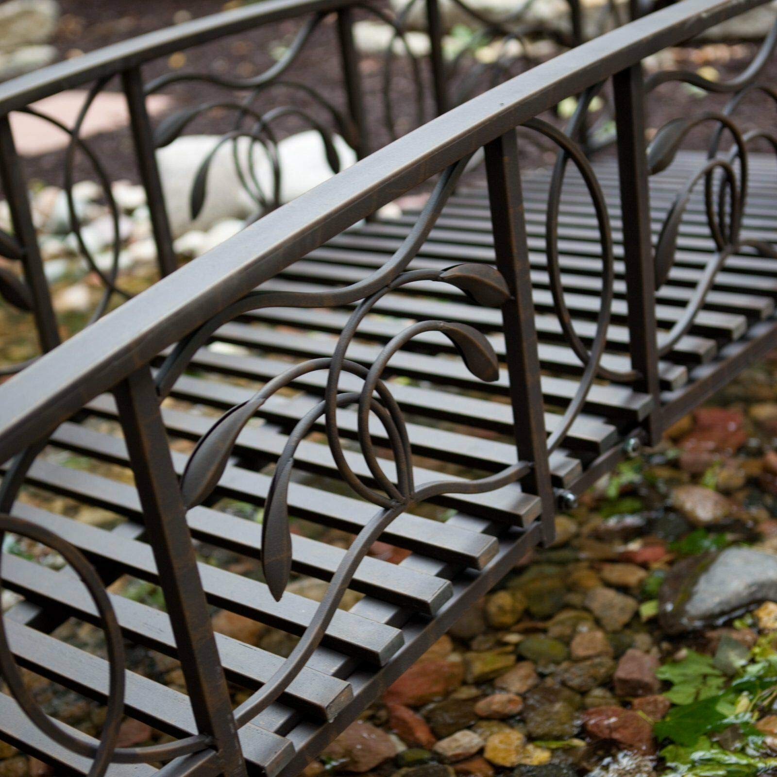 Home Improvements Weathered Black Finish Metal 8 Foot Garden Bridge Outdoor Yard Lawn Landscaping by Home Improvements (Image #2)