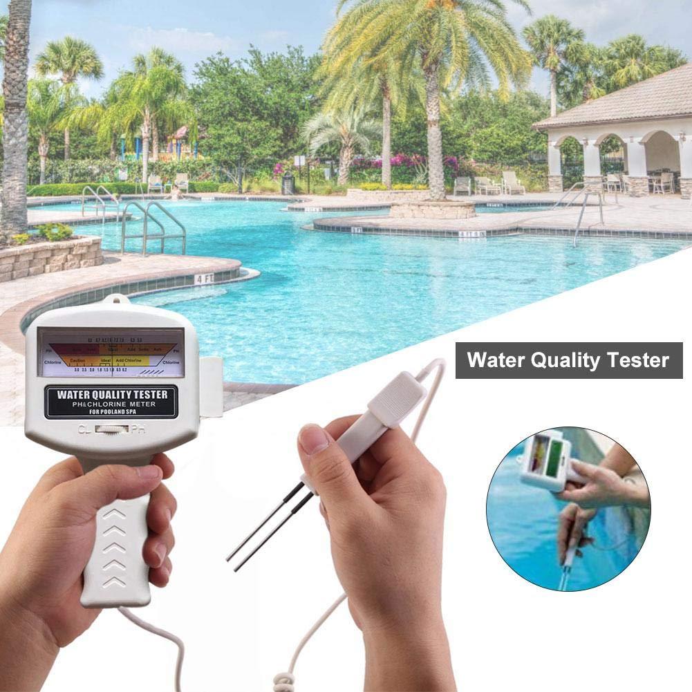 IrahdBowen Water Quality Tester PH Pen Chlorine Content Level Meter PH Detector Digital Salinity Salt Water Quality Meter Tester For Swimming Pool Spa Aquarium Fish Pond