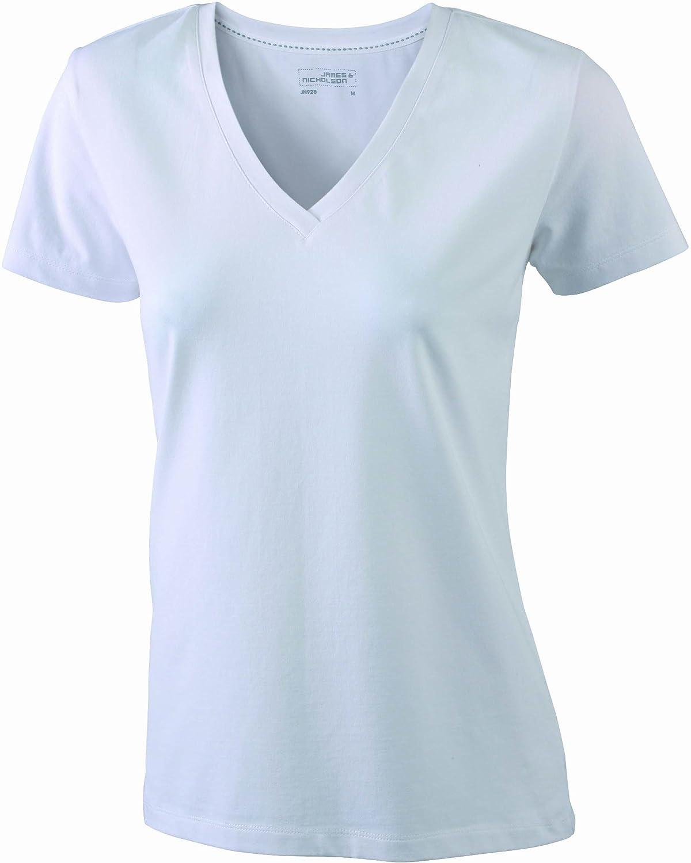 James & Nicholson T-Shirt Stretch Vee Camiseta para Mujer