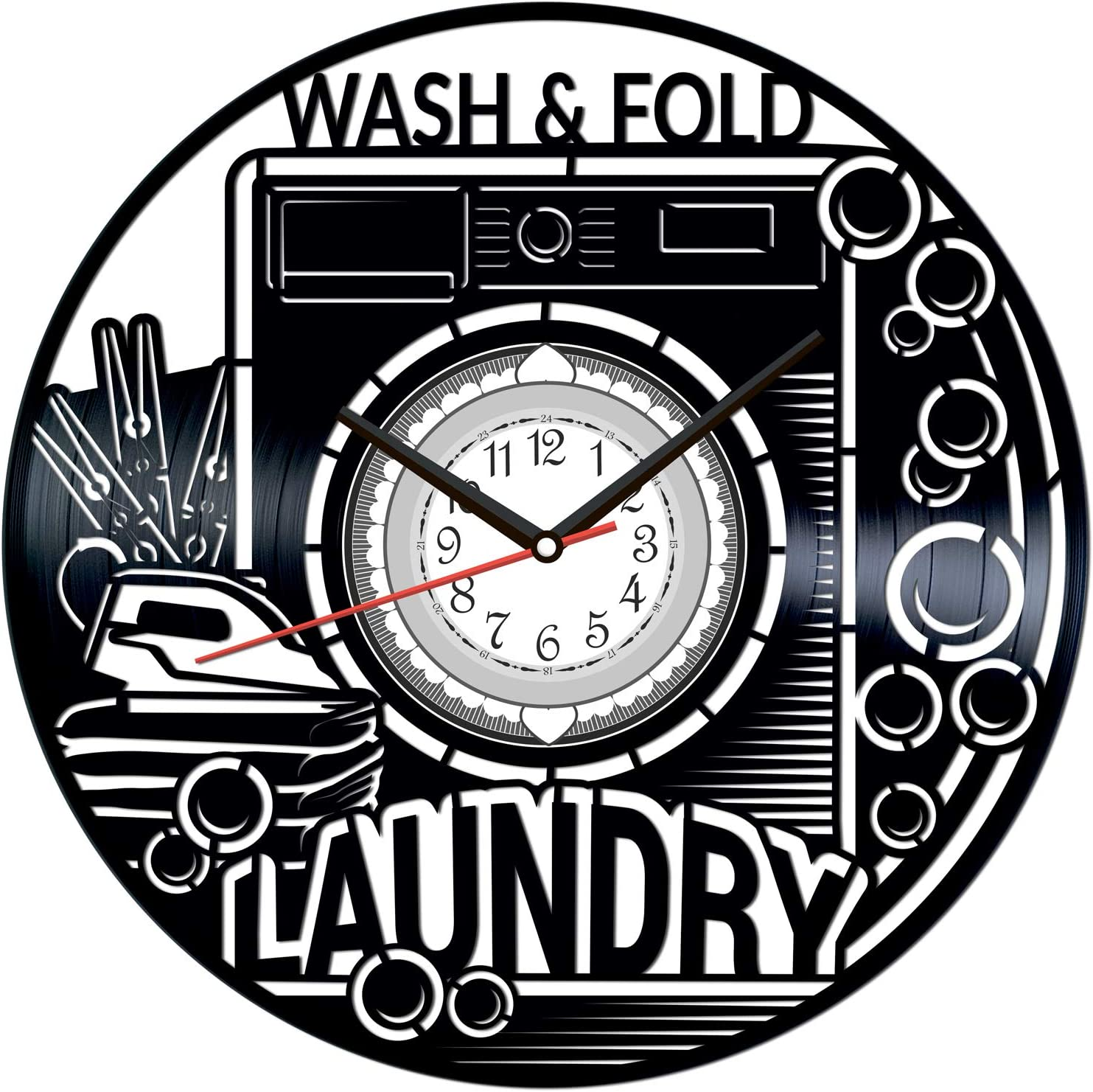 Laundry Vintage Vinyl Wall Clock - Great Home Decor for Bedroom Kitchen Living Room Idea Birthday Christmas Anniversary for Him Her - Unique Wall Art - Size 12 Inches
