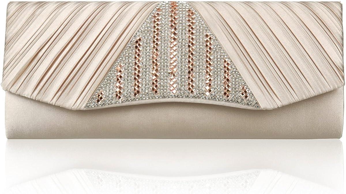 Damara Women Triangle Sparkling Crystal Pleated Flap Cocktail Handbag