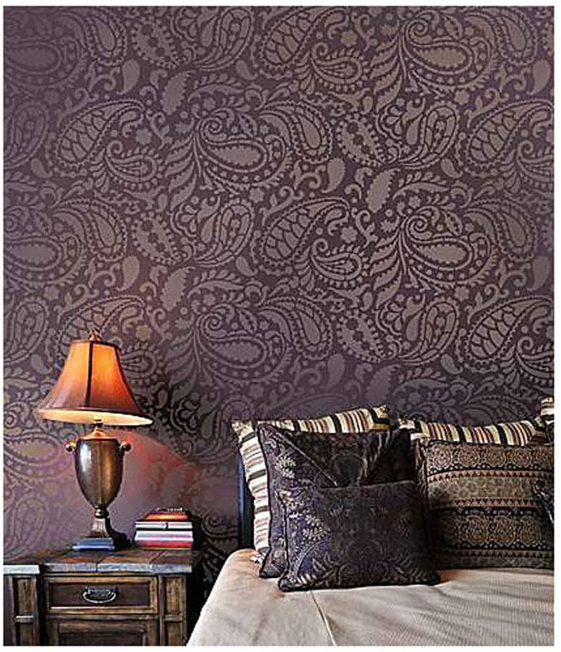 Amazon Com Paisley Allover Wall Stencil Wall Painting Stencils For Easy Room Makeover Large Stencil For Painting Walls Stenciling Instead Of Wallpaper Stencils For Walls Home Kitchen