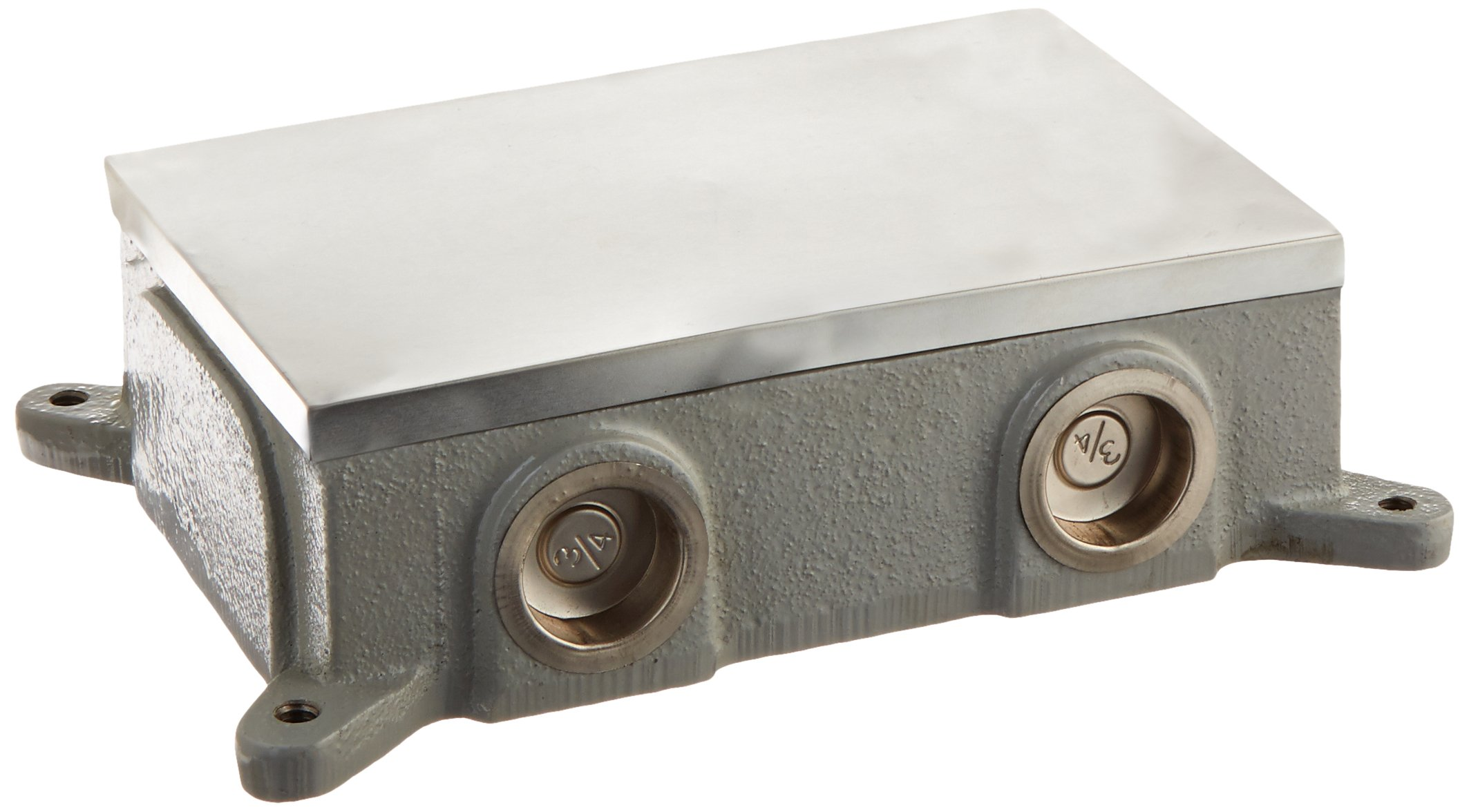 Hubbell BA4214 2 Gang Rectangular Cast Floor Box, Shallow, Semi Adjustable, Aluminum