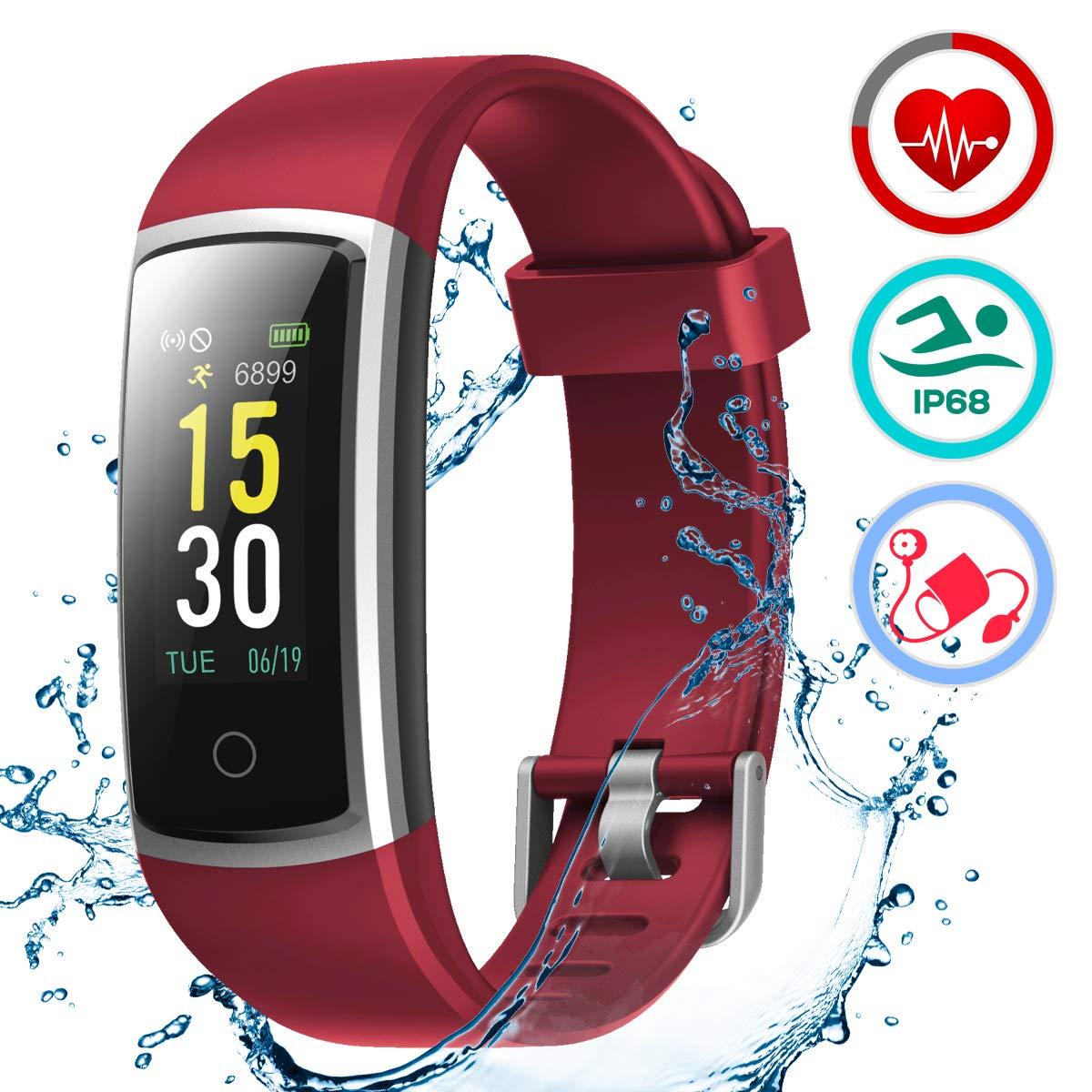 LATEC Pulsera Actividad Inteligente Pulsómetro y Presión Arterial Relojes Deportivos Impermeable IP68 Podómetro Pulsera Deportiva Reloj para Xiaomi ...