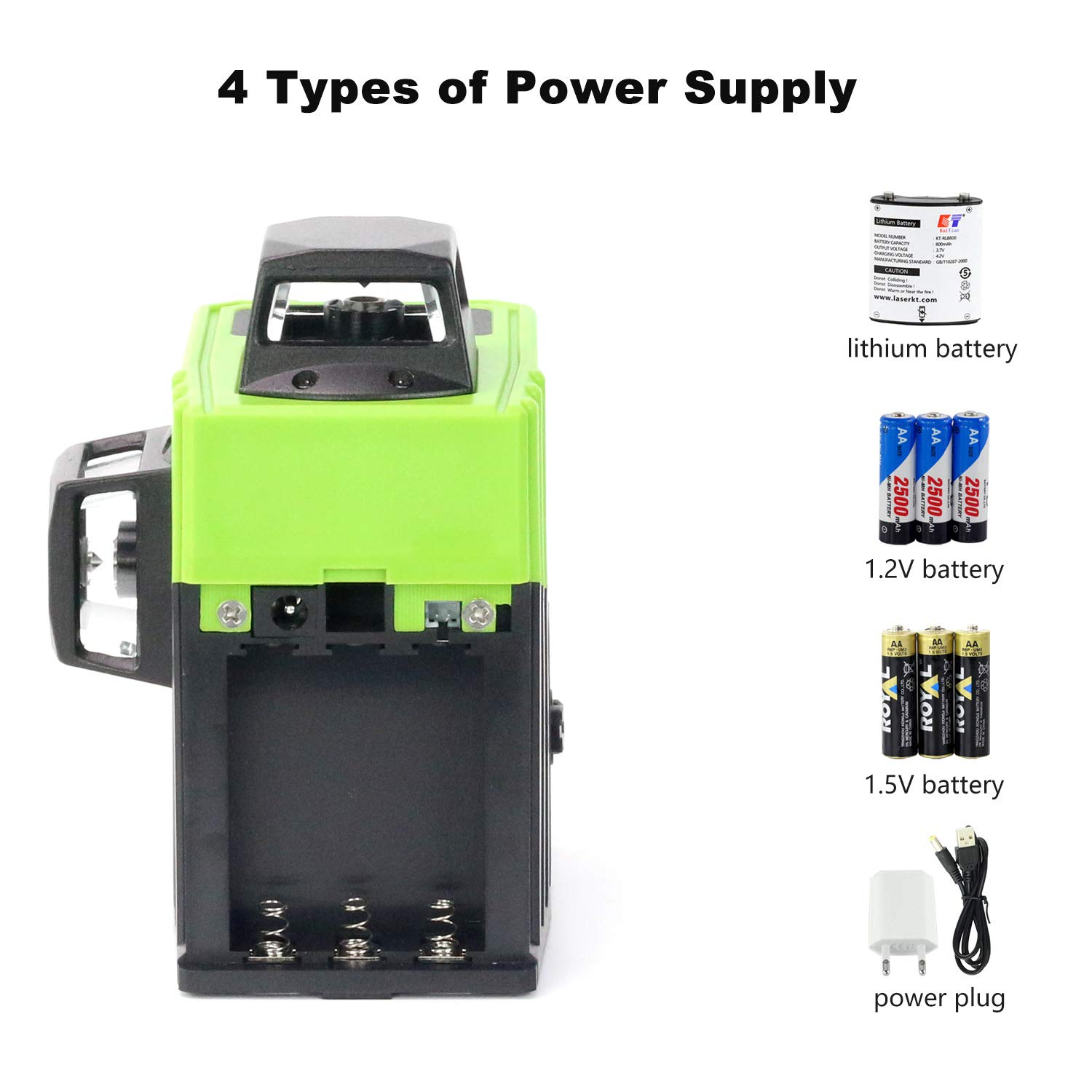 Dingchao Self-Leveling Three-Plane 3 x 360 Green Line Laser Level,with Micro-Adjust / 360 Degree Pivoting Base, Hard Carrying Case,Power Plug Adapter,Multi-functional Laser Leveler Layout Laser Tools by DINGCHAO (Image #9)