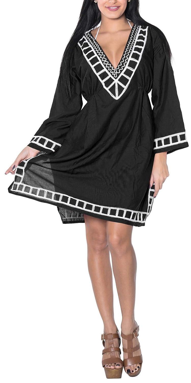 804f433347af3 LA LEELA Hand Embroidered Women SOFT RAYON Hand Embroidered Swimwear FULL  SLEEVES Swimsuit 4 IN 1 BEACH BIKINI COVER UP TUNIC TOP LOUNGEWEAR BASIC  DRESS ...