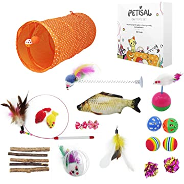petisal Kitten Toys Set cat Toys Variety Pack Including Kitty Tunnel, Catnip Fish and cat Teaser 22PCS