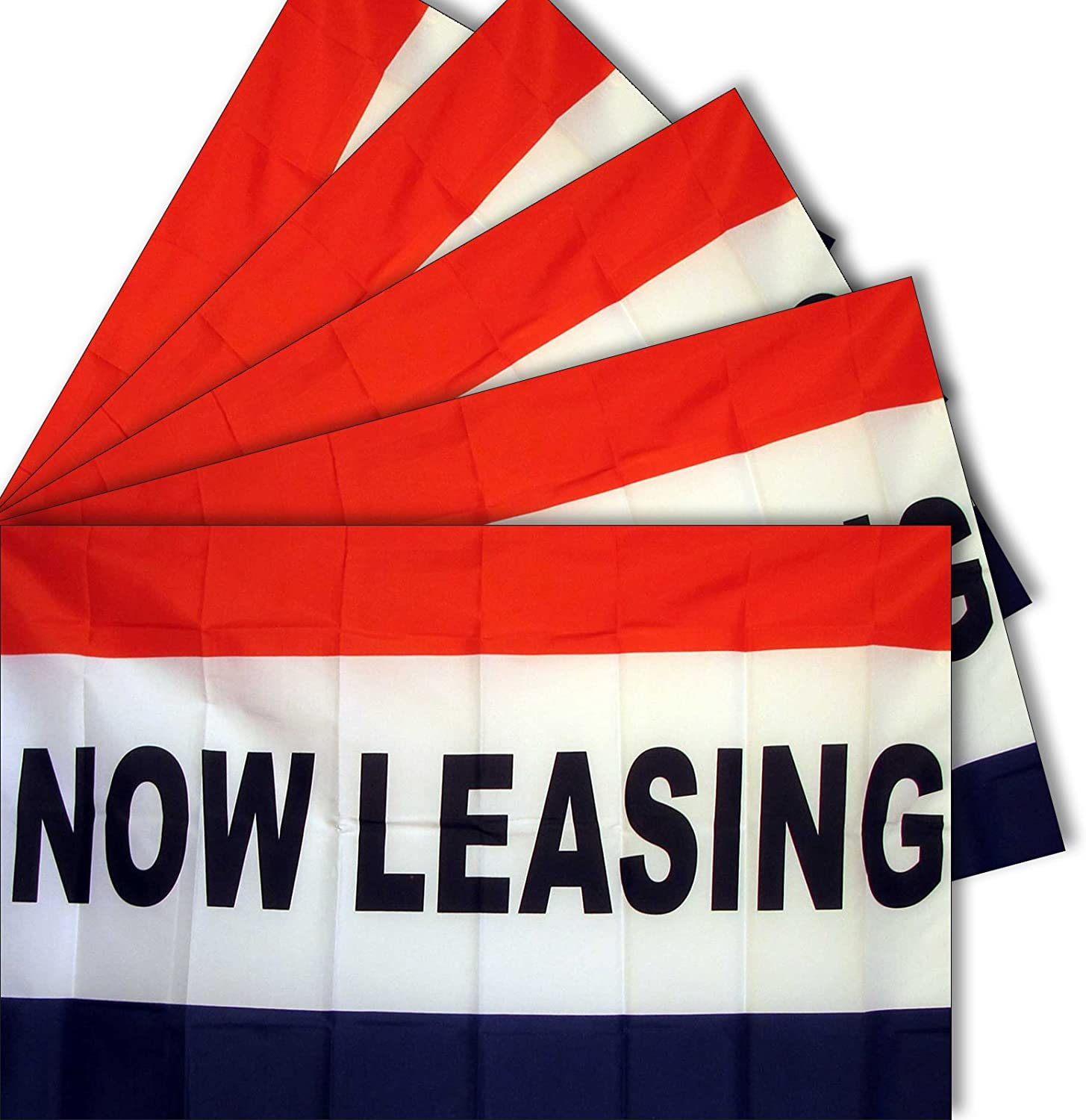 """5-pack of NEOPlex """"NOW LEASING"""" 3' x 5' Flag"""